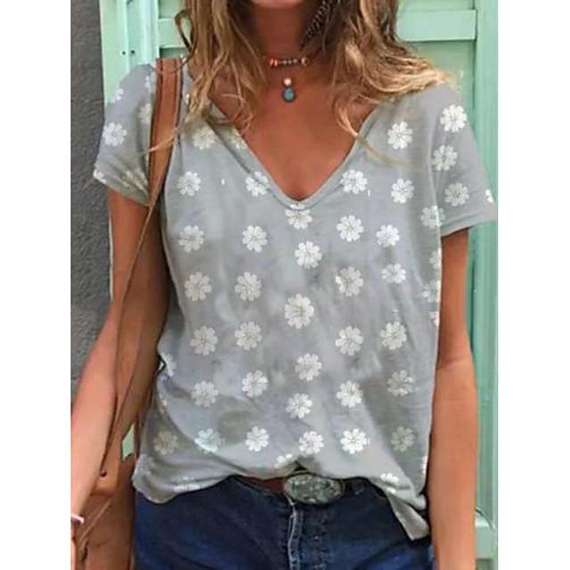 Dames T-shirt Madeliefje Opdruk U-hals Tops Basic Basis Top blauw Paars Khaki
