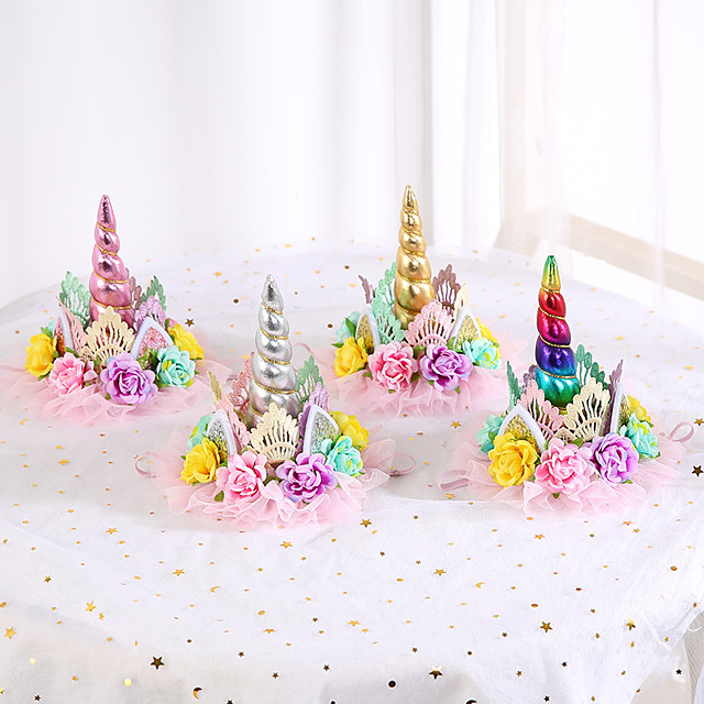 1pcs Kids Girls' Sweet Unicorn Floral Floral Style Hair Accessories Blushing Pink / Gold / Silver One-Size