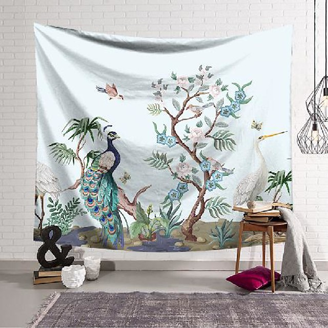 wall tapestry art decor blanket curtain hanging home bedroom living room decoration peacock flower branch polyester