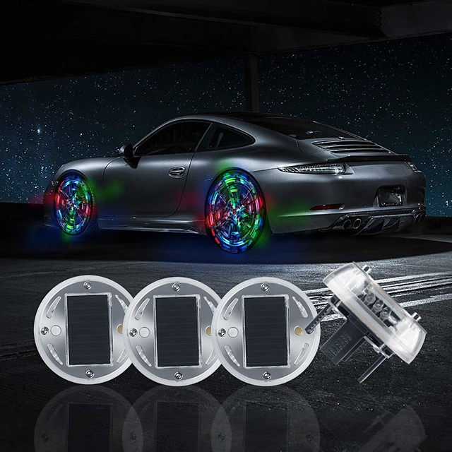 4Pcs Solar Energy Car Wheel Hub Lamp Hot Wheel Lights with Motion Sensors Colorful LED Tire Light Decorative Lights Waterproof for Car Auto Motorcycles Bicycles