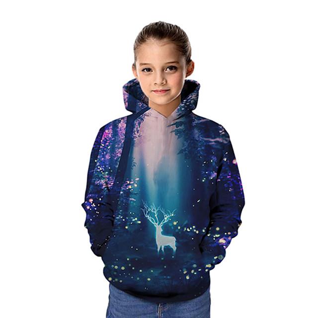 Kinderen Voor meisjes Hoodie en sweatshirt Lange mouw Kerstman Grafisch 3D Kerstmis Opdruk Kinderen Kerstmis Tops Actief Marineblauw