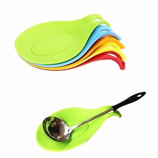 silikon skje isolasjonsmatte 8 stk silikon varmebestandig matemat drikke glass coaster skuff skje pad kjøkkenverktøy tilfeldig farge til restaurant hjemmekokk 5 stk 3 stk 1 stk