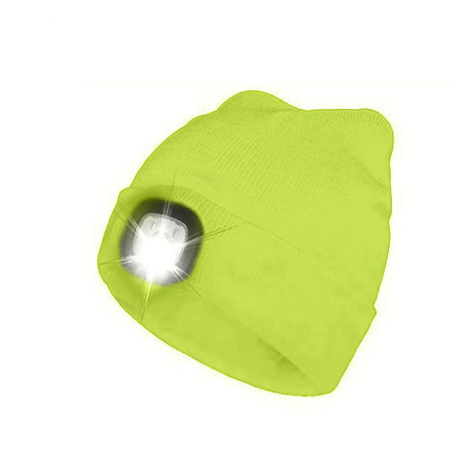LED Beanie Hat with Light Rechargeable Super Bright Emitters with USB Cable Rechargeable Super Bright Soft Adjustable Comfortable Soft touch Navy fluorescent yellow White