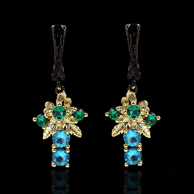 Women's AAA Cubic Zirconia Stud Earrings Drop Earrings Monogram Petal Elegant Vintage Gypsy Earrings Jewelry Black For Party Evening Date Birthday 1 Pair