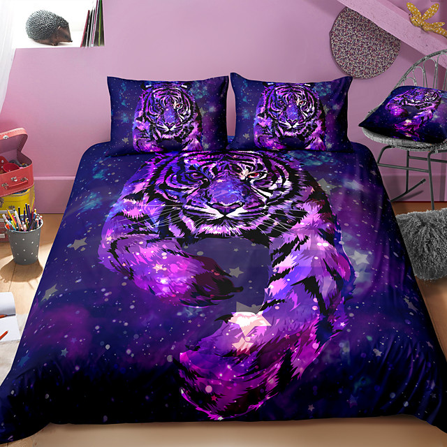 3D Tiger Print 3-Piece Duvet Cover Set Hotel Bedding Sets Comforter Cover with Soft Lightweight Microfiber For Holiday Decoration(Include 1 Duvet Cover and 1or 2 Pillowcases)