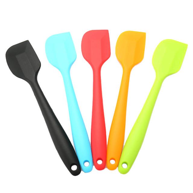 spatules en silicone grattoir brosse 5 pièces mélange cuisson beurre crème gâteau cuisine 3 pièces 1 pc pour soupe cuillère gâteau crème cuisson pâtisserie outil couleur aléatoire