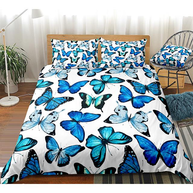طقم غطاء لحاف مكون من 3 قطع بطبعة فراشة زرقاء أطقم أغطية سرير الفندق غطاء لحاف مع ألياف دقيقة ناعمة وخفيفة الوزن لتزيين الغرفة (تشمل 1 غطاء لحاف و 1 أو 2 غطاء وسادة)