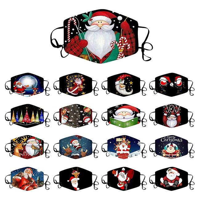 5 stk mote juletrykkede sivile masker støvtette hengende ører flerfarget variasjon stil