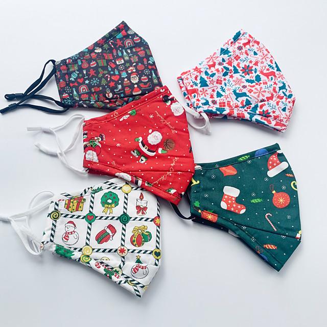 3 stk jul bomullsmaske for voksne menn og kvinner vaskbar støvtett pustende elg godteri juledag bomullstrykt maske