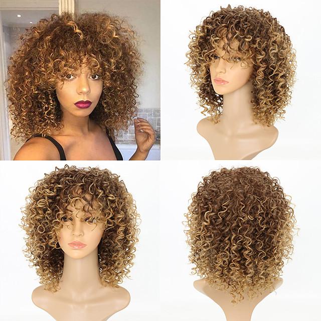 Perruque Synthétique Kinky Curly Très Frisé Perruque Moyen Blond Cheveux Synthétiques Femme Mèches Colorées / Balayées Blond