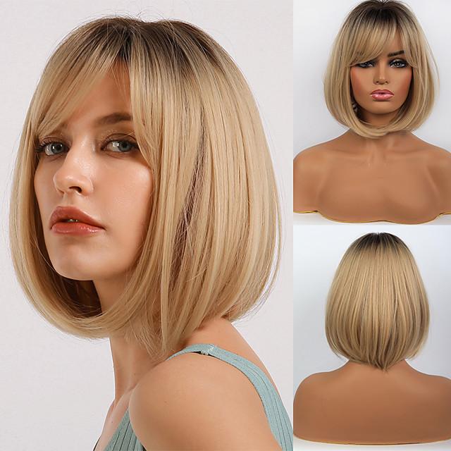 Synthetic Wig Bangs Natural Straight Side Part Neat Bang With Bangs Wig Blonde Ombre Short Ombre Blonde Synthetic Hair 14 inch Women's Cosplay Women Synthetic Blonde Ombre BLONDE UNICORN