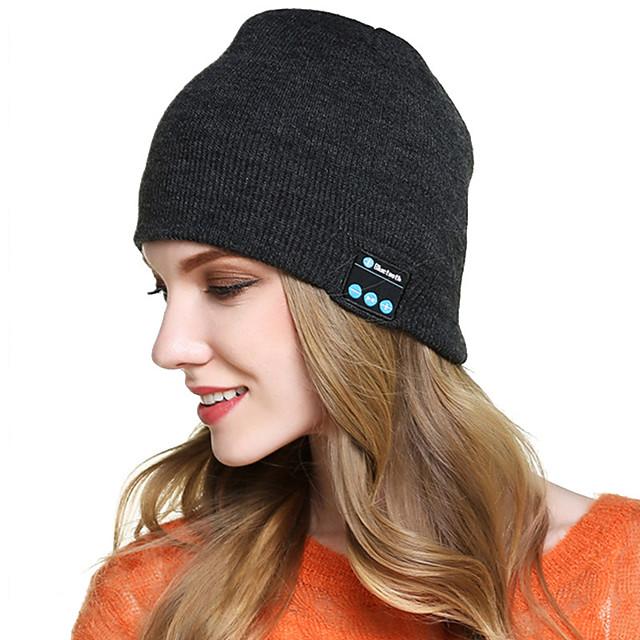 bonnet bluetooth, chapeau éclairé par LED avec haut-parleurs stéréo intégrés& micro, casque unisexe rechargeable usb bonnet tricoté pour l'extérieur, le sport, le camping, la randonnée, la