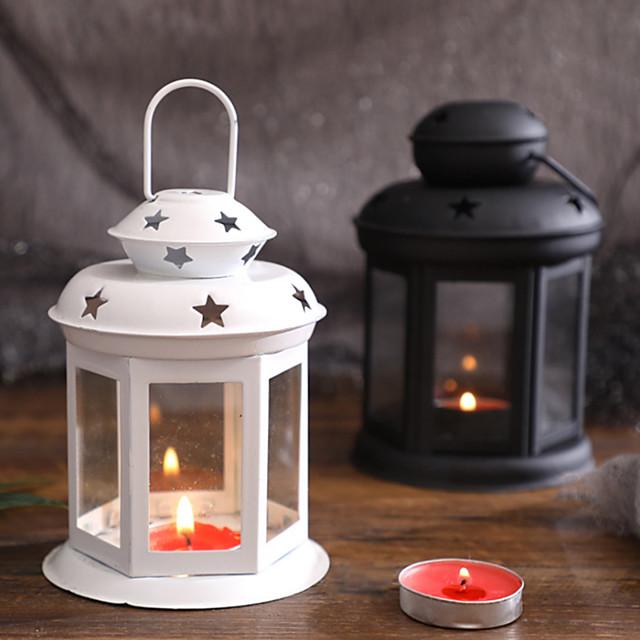 Bougeoir portable de style européen fille coeur fer vent lampe aromathérapie chandelier évidé ornement étoile