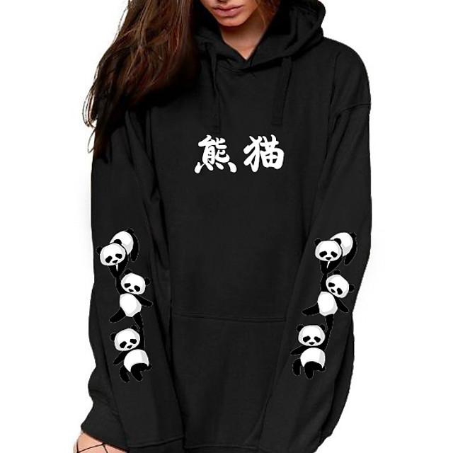 Dames Trui met capuchon Grafisch Tekst Panda Voorvak Opdruk Dagelijks Andere prints Basic Informeel Hoodies Sweatshirts Zwart