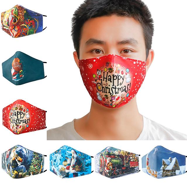 5 pcs natal máscara de algodão impressa em 3D para inverno quente e à prova de poeira máscara respirável e lavável