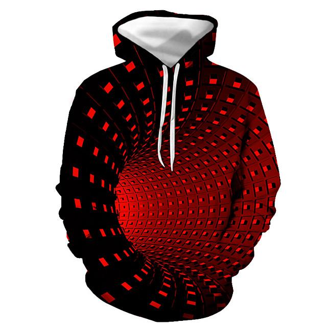 Voor heren Trui met capuchon Kleurenblok Geometrisch 3D Dagelijks Feestdagen Street chic Halloween Hoodies Sweatshirts Zwart Paars Rood
