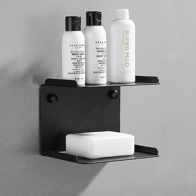 porte-savon multifonction et étagère de salle de bain contemporain en acier inoxydable mural noir et argent 1 pc