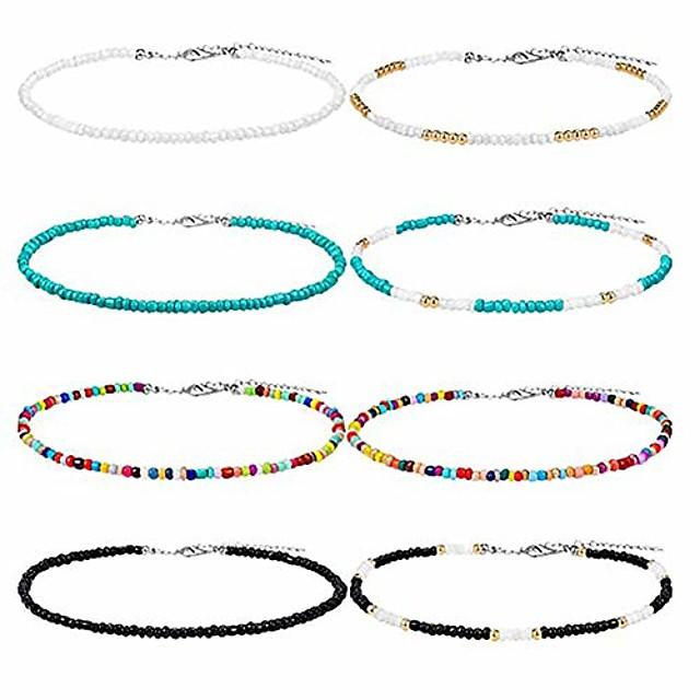 8 pcs colares de contas boêmias gargantilha de vidro ajustável gargantilha colorida de verão havaí minúscula gargantilha boho joia feita à mão para meninas
