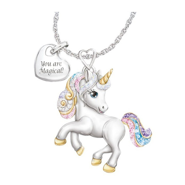 girls unicorn necklace pendant cute animal colorful unicorn jewelry 'your are magical' heart pendant gift for teen kids christmas thanksgiving halloween