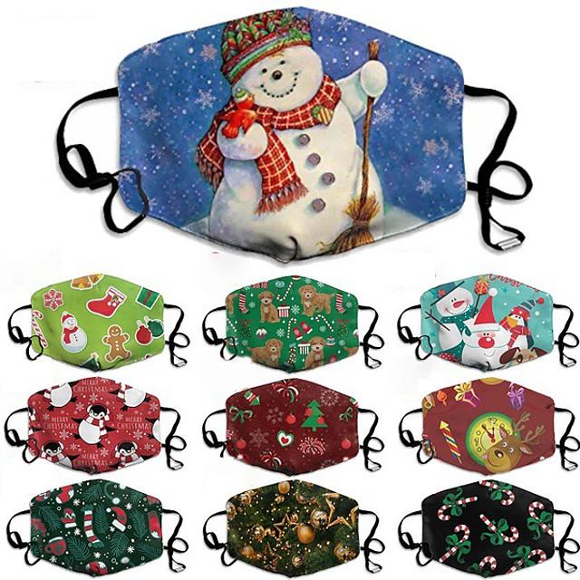 Maschera natalizia da 5 pezzi unisex con maschera da stampa in cotone composito maschera da vacanza lavabile e traspirante