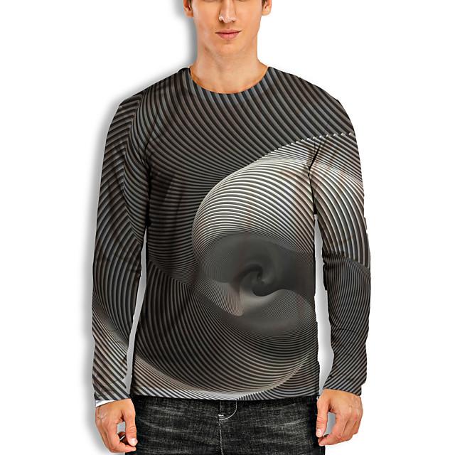 Voor heren T-shirt 3D-afdrukken Grafisch 3D Print 3D Opdruk Lange mouw Dagelijks Tops Informeel Grijs-wit