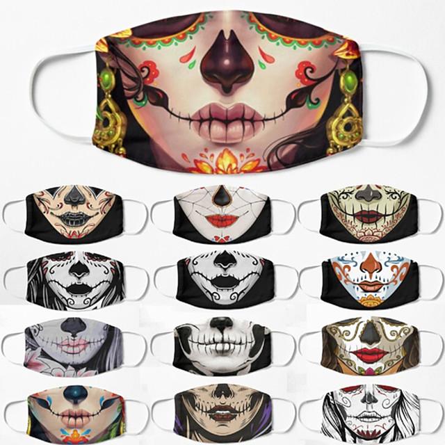 5 pezzi maschera traspirante antivento maschera di halloween neutra stampa teschio di zucchero mezza maschera maschera per uomini e donne