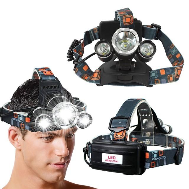 phare LED, phare super lumineux zoomable 5000 lumen 3 LED 4 modes phare de travail, 18650 lampes de poche pour camping randonnée pêche en cours d'exécution