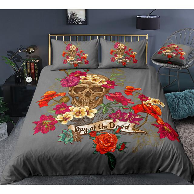 3-delige dekbedovertrekset met doodskop-serie bloemenprint hotel beddengoed sets dekbedovertrek met zachte lichtgewicht microvezel voor kamerdecoratie (inclusief 1 dekbedovertrek en 1 of 2