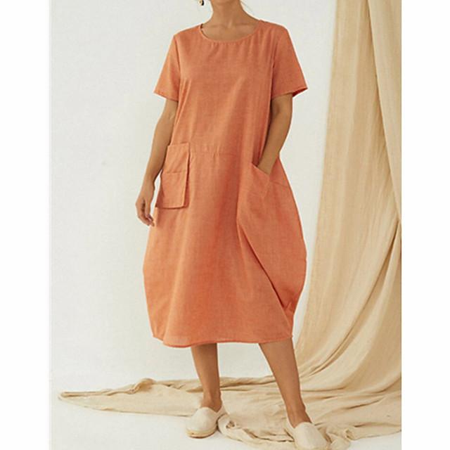 Dames A lijn jurk Knielengte jurk blauw Oranje Grijs Korte mouw Effen Kleur Zak Lapwerk Zomer Ronde hals Chinoiserie Vlinder Linnen L XL XXL 3XL 4XL 5XL / Grote maten