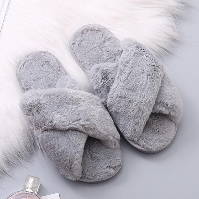 Women's Slippers & Flip-Flops Fuzzy Slippers Indoor Slippers Flat Heel Open Toe Daily Home Faux Fur Wine Black Light Red