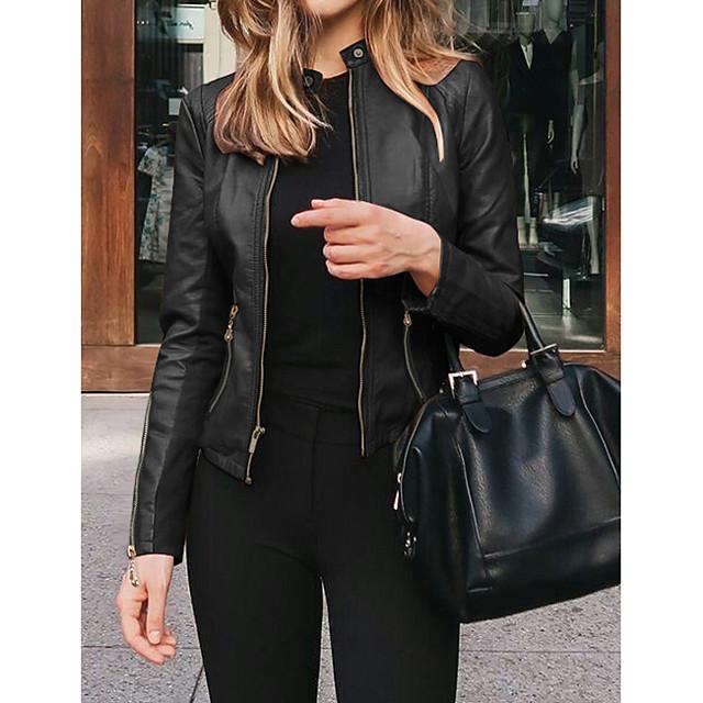Per donna Giacche di pelle Quotidiano Autunno Inverno Standard Cappotto Colletto alla coreana Standard Casuale Giacca Manica lunga Tinta unita Verde Bianco / Primavera
