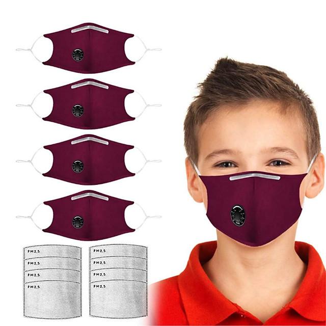 4 pcs anti-poussière masques en tissu anti-brume lavables enfants noirs oreilles adultes coton tissu masques de couleur unie