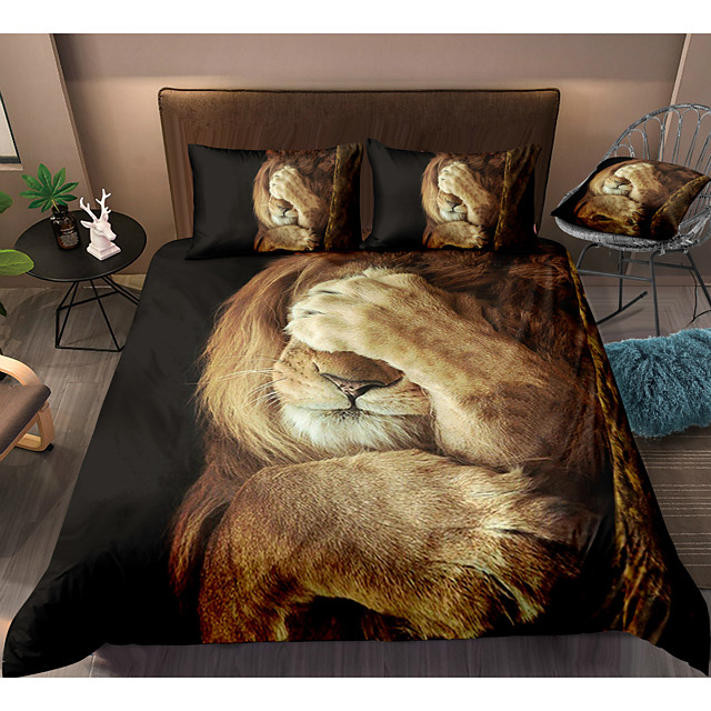 3D Lion Print 3-Piece Duvet Cover Set Hotel Bedding Sets Comforter Cover with Soft Lightweight Microfiber, Include 1 Duvet Cover, 2 Pillowcases for Double/Queen/King(1 Pillowcase for Twin/Single)