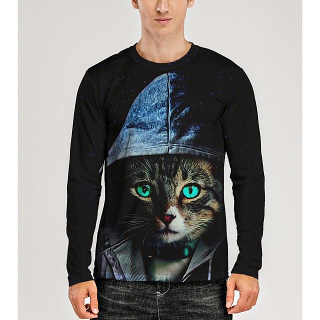 Voor heren T-shirt 3D-afdrukken Grafisch 3D dier Opdruk Lange mouw Dagelijks Tops Zwart