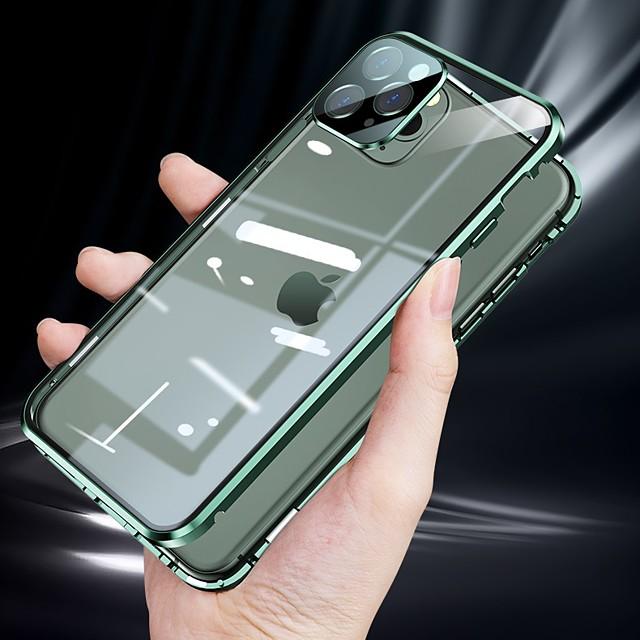 téléphone Coque Pour Apple Coque Intégrale Adsorption Magnétique Aimantée iPhone 12 Pro Max 11 SE 2020 X XR XS Max 8 7 Double Face Clair Protecteur d'objectif de caméra Couleur Pleine Verre Tremp