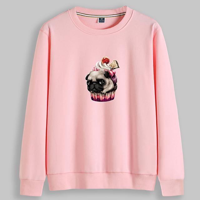 Dames Trui met capuchon Hond Grafisch Opdruk Dagelijks Andere prints Basic Informeel Hoodies Sweatshirts Wit Zwart Geel