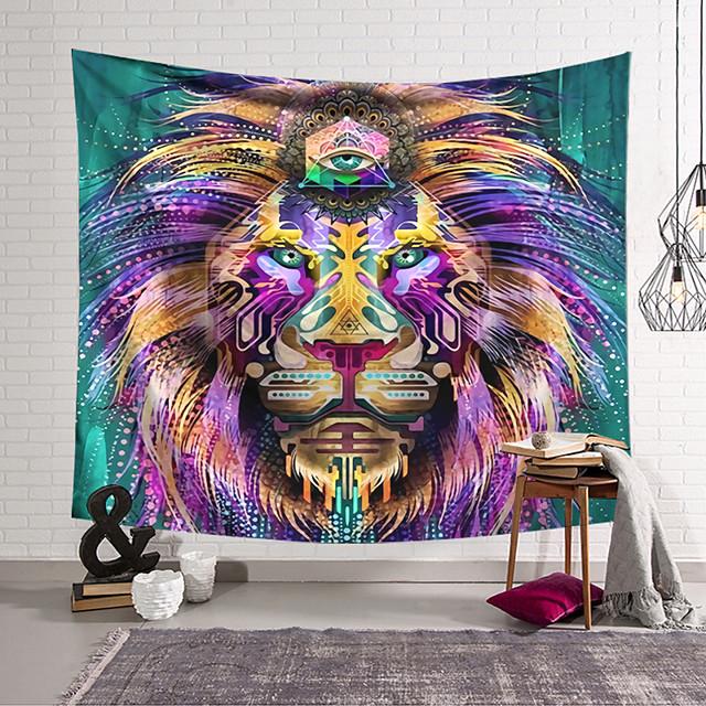 Tapisserie murale art décor couverture rideau suspendu maison chambre salon décoration polyester tête de lion