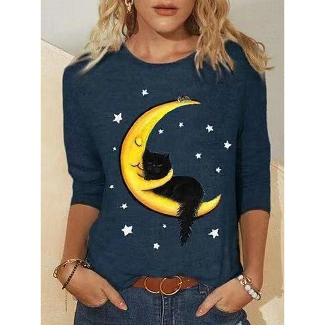 여성용 T 셔츠 고양이 긴 소매 프린트 라운드 넥 탑스 베이직 기본 탑 푸른
