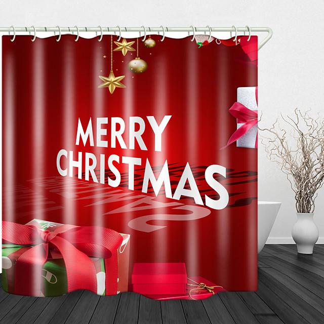 kerstcadeaus print waterdichte stof douchegordijn voor badkamer interieur bedekt badkuip gordijnen voering omvat met haken