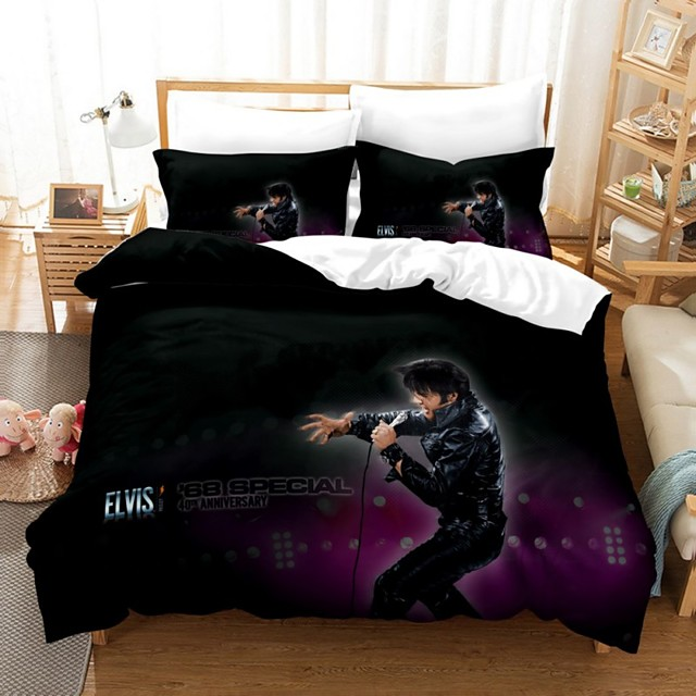 Elvis Presley 3-Piece Duvet Cover Set Hotel Bedding Sets Comforter Cover with Soft Lightweight Microfiber, Include 1 Duvet Cover, 2 Pillowcases for Double/Queen/King(1 Pillowcase for Single)