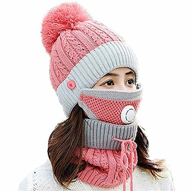 kış polar astar bere şapka atkı ve kadınlar için maske seti örme sıcak ponpon kayak kap boyun ısıtıcısı (pembe tarzı a, bir boyut)