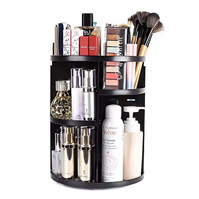 Organizer per trucco rotante a 360, cremagliera portaoggetti girevole per giostra per trucco regolabile fai-da-te, scatola organizer per cosmetici con ripiano per trucco di grande capacità, ottimo per