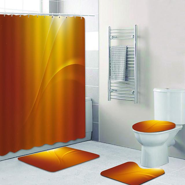 eenvoudige goudgele digitale print vierdelige set douchegordijnen en haken moderne polyester machine gemaakt waterdichte badkamer