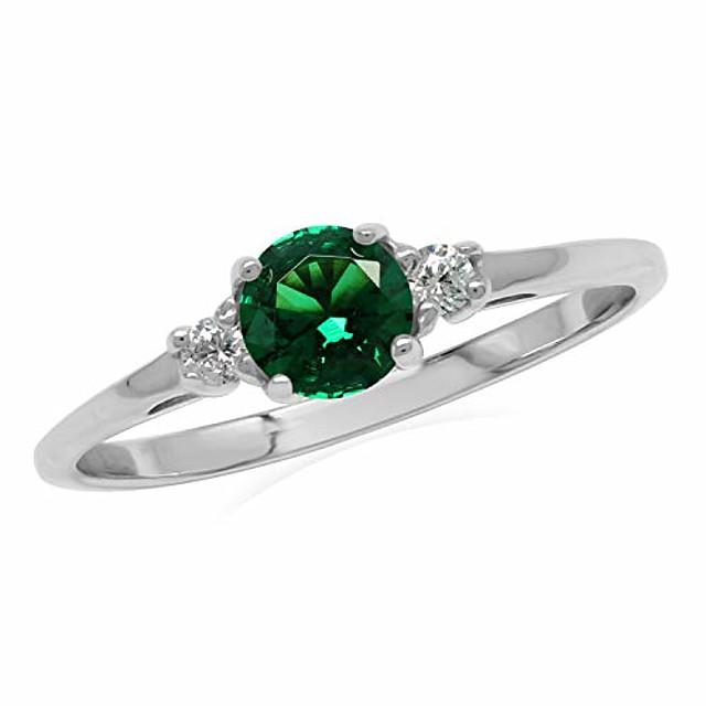 petite bague de promesse en argent sterling 925 nano émeraude verte et zircone cubique blanche