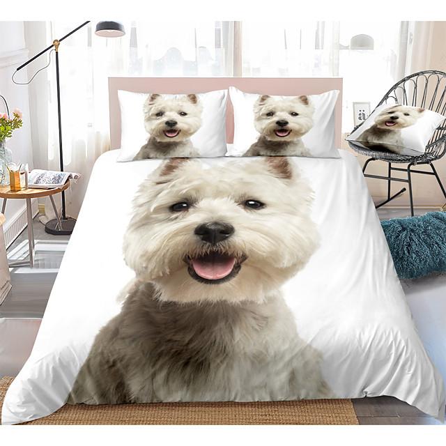 طقم غطاء لحاف مكون من 3 قطع بطبعة كلب لطيف طقم أغطية سرير الفندق غطاء لحاف مع ألياف دقيقة ناعمة خفيفة الوزن ، بما في ذلك غطاء لحاف واحد وغطاء وسادة لشخصين / كوين / كينج (1 كيس وسادة لشخصين / فردي)