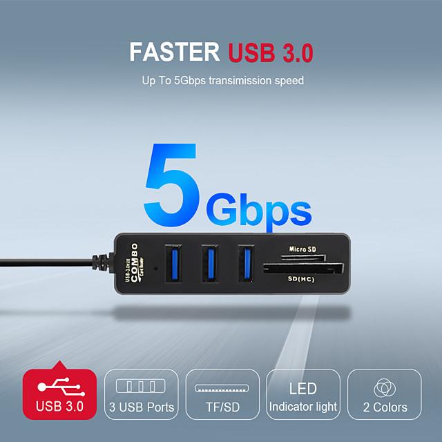 LITBest USB 3.0 à USB 3.0 carte SD Carte TF Concentrateur USB 5 Les ports Pour Windows, PC, ordinateur portable