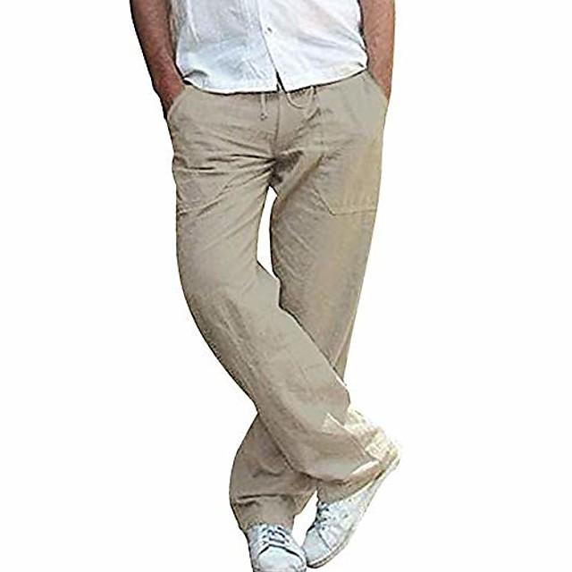 บุรุษกางเกงลำลองน้ำหนักเบาสายรัดเอวกางเกงตรงระบายอากาศโยคะยิมกางเกงฤดูร้อนสีกากีเข้ม