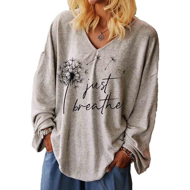 Dame Pluss størrelse Topper T skjorte Grafisk Bokstaver Langermet V-hals Høst Sommer Grå Stor størrelse L XL 2XL 3XL / Store størrelser / Store størrelser / Løstsittende