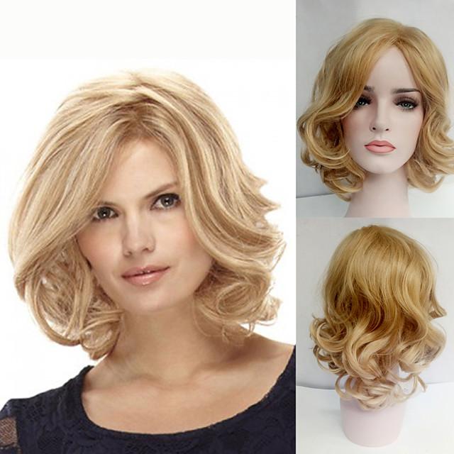 Synteettiset peruukit Kihara Kihara Bob-leikkaus Otsatukalla Peruukki Vaaleahiuksisuus Keskikokoinen Vaaleahiuksisuus Synteettiset hiukset Naisten Sivuosa Vaaleahiuksisuus