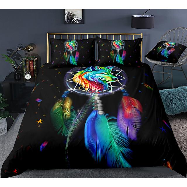 طقم غطاء لحاف 3 قطع ملون Dreamcatcher أطقم أغطية سرير الفندق غطاء لحاف مع ألياف دقيقة ناعمة وخفيفة الوزن لتزيين الغرفة (تشمل 1 غطاء لحاف و 1 أو 2 غطاء وسادة)